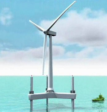 wind turbines in the ocean. wind turbines in the ocean.